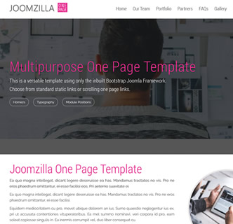 joomla one page responsive bootstrap framework only template