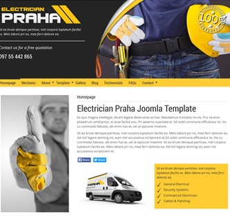 Joomla car mechanic template, joomla electrician template, joomla prague